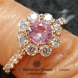 Pink Sapphire and Diamond Engagement